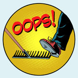 To step on a rake. Failure and problems pop art. Retro style. The business concept is a bad way, bad decision stock illustration