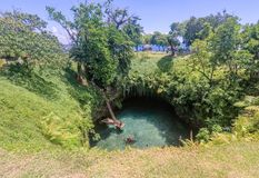 To Sua Ocean Trench swimming hole, Upolu Island, Samoa, South Pa. Cific - a popular tourist attraction for travellers on vacation stock photo
