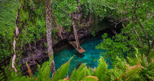 To Sua ocean trench, Upolu, Samoa, South Pacific. Upolu, WESTERN SAMOA - SEP 28 2016: To Sua ocean trench, Upolu, Samoa, South Pacific stock video footage