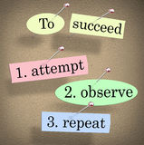 To Succeed Attempt Observe Repeat Quote Saying Bulletin Board. To Succeed, Attempt, Observe and Repeat quote or saying pinned to a bulletin board with pushpins vector illustration