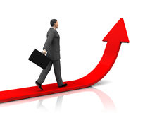 To success. 3d illustrationof businessman step forward and upward arrow Stock Images