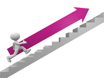 To success. 3d people - man, person with an arrow running on stairs. To success Stock Image