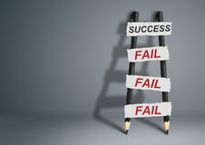 To success through failures creative concept, pencil Ladder with Royalty Free Stock Photo