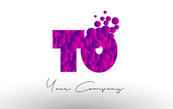 TO T O Dots Letter Logo with Purple Bubbles Texture. Stock Photography