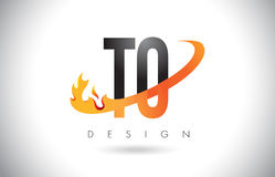 TO T O Letter Logo with Fire Flames Design and Orange Swoosh. Royalty Free Stock Images