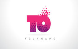 TO T O Letter Logo with Pink Purple Color and Particles Dots Des Royalty Free Stock Photography