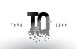 TO T O Pixel Letter Logo with Digital Shattered Black Squares Stock Photos