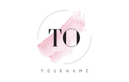 TO T O Watercolor Letter Logo Design with Circular Brush Pattern Royalty Free Stock Image