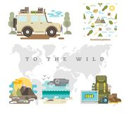 Free To The Wild Vector Illustration Set With Off Road Jeep, Seamless Wildlife Nature Pattern, Backgrounds And Objects. Royalty Free Stock Photo - 111105685