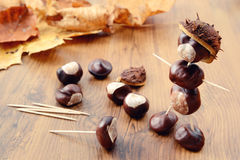 To Tinker Handmade Figures Of Chestnuts And Glue Stock Images