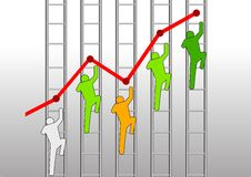 To The Top. Iconic figure of men climbing ladder chart Stock Images