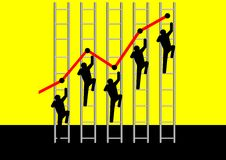To The Top. Vector illustration of people climbing ladder Stock Images