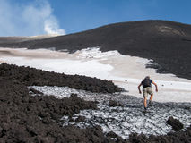 To the top of the Etna volcano Royalty Free Stock Photography