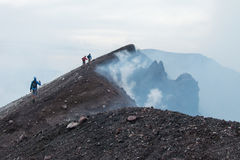 To the top of the Etna volcano Stock Photos