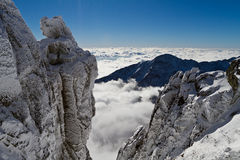 To the top of the rock. View from Lomnicky Peak (2634 m), High Tatras mountains, Slovakia Stock Image