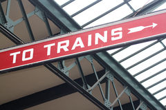 To Trains. Sign at Liberty State Park royalty free stock photos