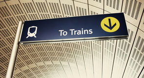 To trains. Sign in emirates subwaty. Interior of the subway Stock Images
