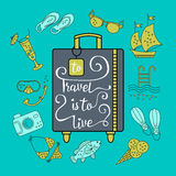 To travel is  live. Handwritten , inspiration quote to travel is to live. Vector illustration of lettering on a suitcase and symbols of tourism and holidays Royalty Free Stock Images