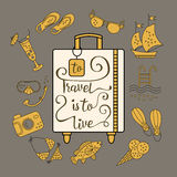 To travel is  live. Handwritten , inspiration quote to travel is to live. Vector illustration of lettering on a suitcase and symbols of tourism and holidays Royalty Free Stock Photos