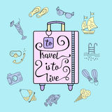 To travel is  live. Handwritten , inspiration quote to travel is to live. Vector illustration of lettering on a suitcase and symbols of tourism and holidays Stock Photo