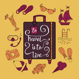 To travel is  live. Handwritten , inspiration quote to travel is to live. Vector illustration of lettering on a suitcase and symbols of tourism and holidays Stock Photography