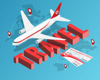To travel is to live. Tickets and Passenger airplane. Our travel destinations banner. Isometric Luxury vacation concept.  stock illustration