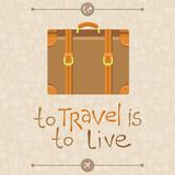 To travel is to live. Vector card in flat retro style - To travel is to live Royalty Free Stock Photos