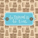 To travel is to live. Vector card in flat retro style - To travel is to live Stock Photography