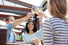 Joyful positive people raising their glasses. To us. Joyful positive nice people smiling and raising their glasses filled with wine while celebrating their Royalty Free Stock Photo