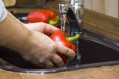 To wash up a pepper stock images