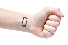 To wear yourself out. Human exhaustion lead to depression. Icons. Of empty battery on the wrist Royalty Free Stock Images