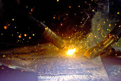 To weld a iron sheet Stock Photography