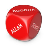 To whom do you believe?. Major religious groups concept. Big red dice with options Stock Photography