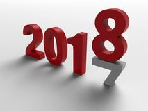 2017 to 2018 year change - shadows text. 3D render illustration of the concept of changing the year from 2017 to 2018. The composition is  on a white background Royalty Free Stock Image
