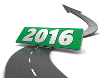 To 2016 year. 3d illustration of asphalt road and 2016 sign Stock Illustration