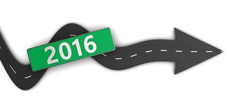 To 2016 year. 3d illustration of road with arrow and 2016 sign Stock Images