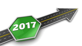 To 2017 year. 3d illustration of road with arrow and 2017 year sign Stock Photos