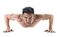 40 to 45 years old fit man doing push up workout training fitness routine with strong muscular body Royalty Free Stock Photography