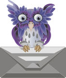 To you letter. Lilac owl with the letter Royalty Free Stock Photography
