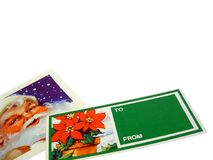 To You From Me. 2 Christmas gift tags on a white background Royalty Free Stock Images