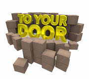 To Your Door Special Delivery Home Service Cardboard Boxes 3d Il. Lustration Stock Image