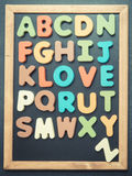 A to Z alphabet colorful wooden word on black board Stock Images