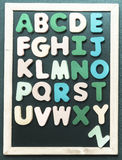 A to Z alphabet colorful wooden word on black board Stock Photography