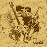 Tło z instrumentami muzycznymi Obrazy Stock