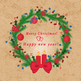 tło z wizerunkiem boże narodzenie ornamenty, jodła rozgałęzia się, płatki śniegu, świeczki, lekki tło, Zdjęcie Stock