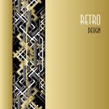Tło z złotym srebnym czarnym art deco konturu stylu projektem Obrazy Royalty Free