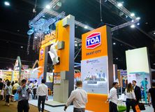 TOA the paint and coatings industry in the AEC, the image shows exhibition booth at architect `18 expo. NONTHABURI, THAILAND – On May 03, 2018 - TOA the royalty free stock image