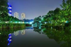 Toa Payoh Town Park bis zum Nacht Lizenzfreie Stockfotografie