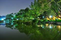Toa Payoh Town Park-Teich mit Grünhintergrund Lizenzfreie Stockfotografie