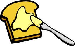 Toaat met boter en het uitspreiden mes Royalty-vrije Stock Afbeeldingen